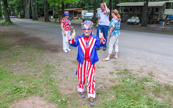 Boy dressed in 4th of July costume